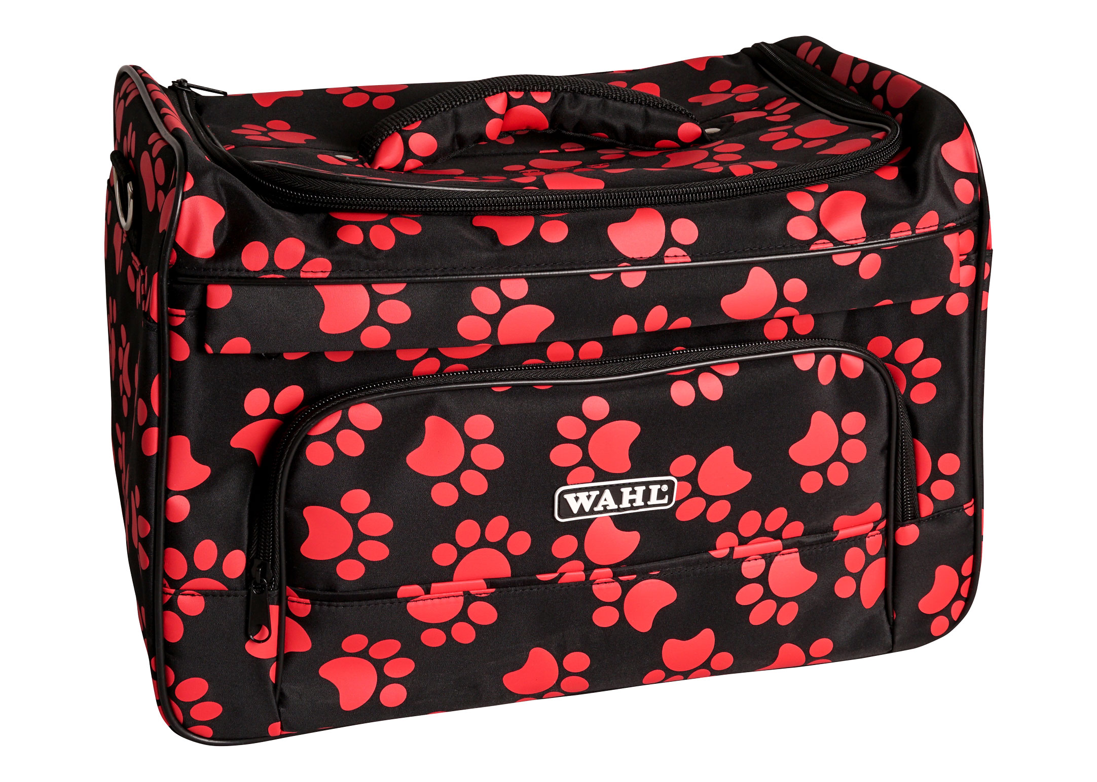Wahl Groomers Pawprint Bag Black-Red Paws Travel Case
