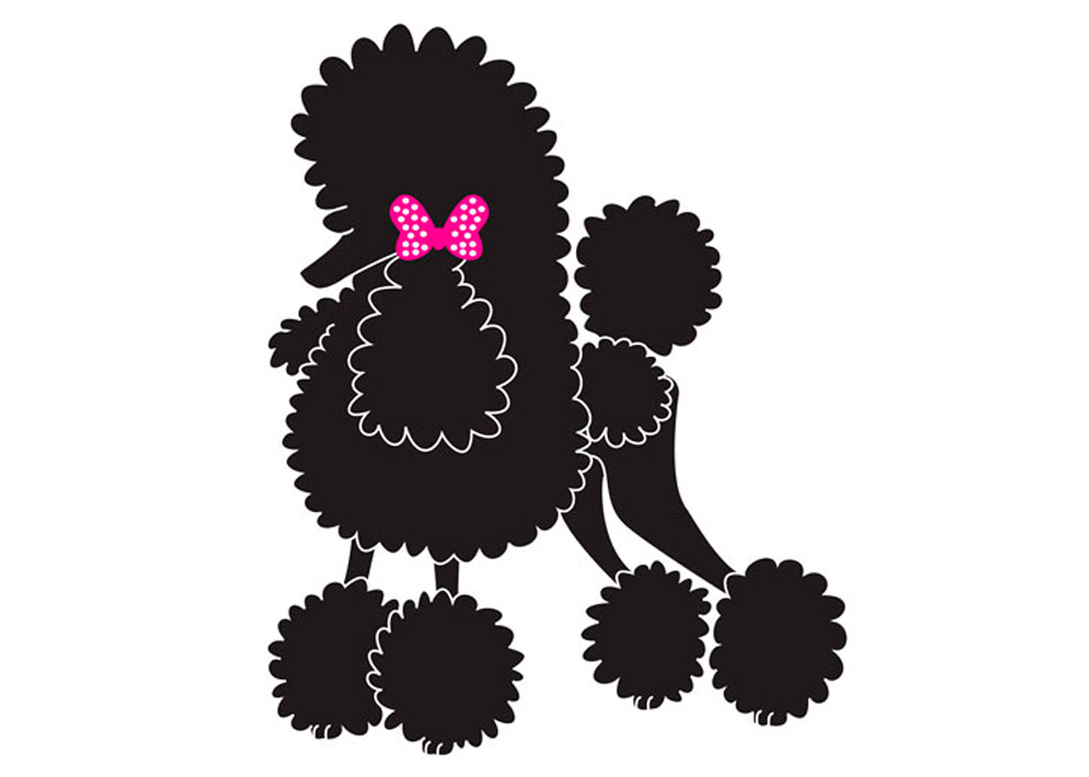 K-design Poodle Bow Sticker For Groomers