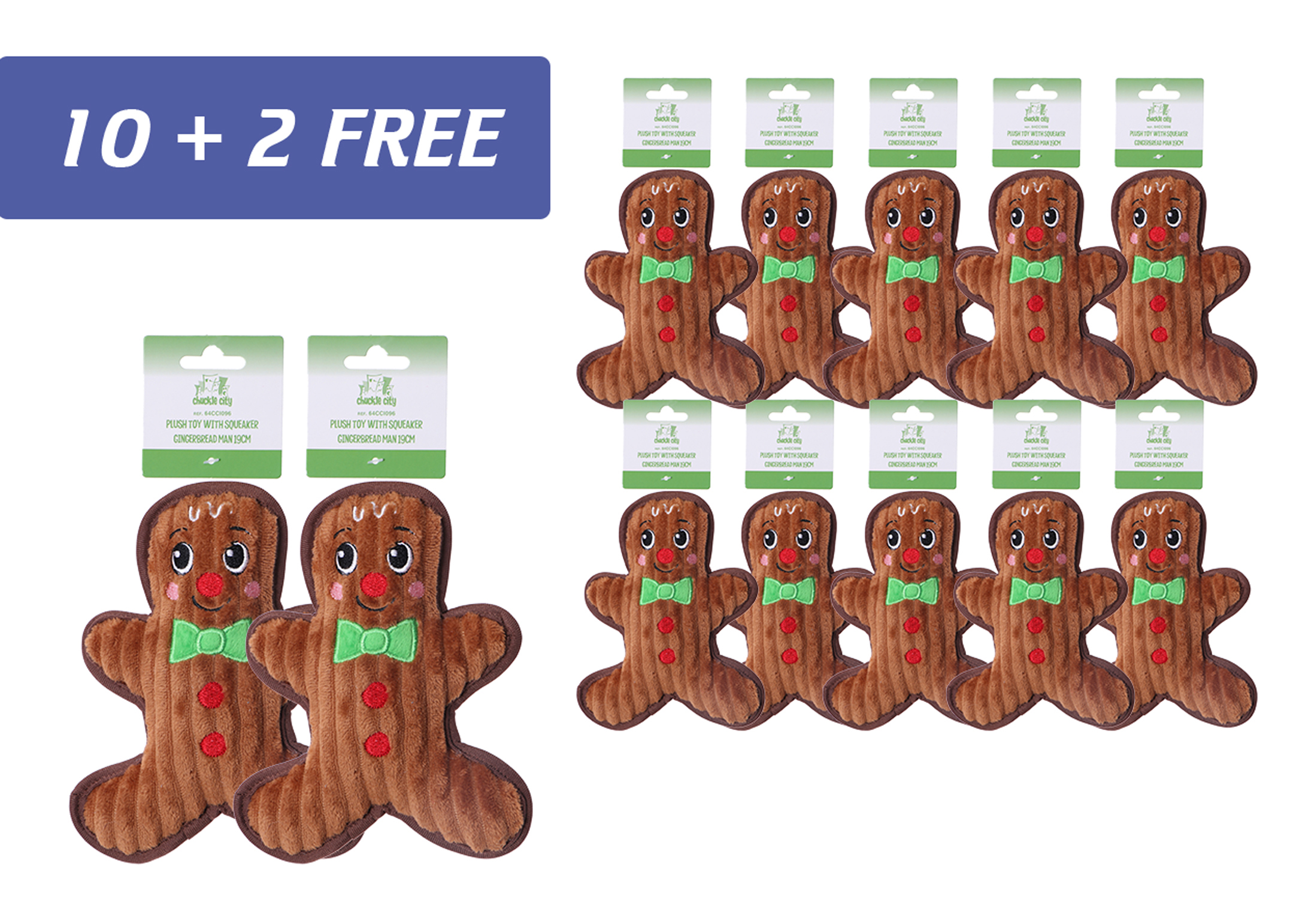 Chuckle City promo 10+2 free Plush Toy with Squeaker Gingerbread Man 19 cm