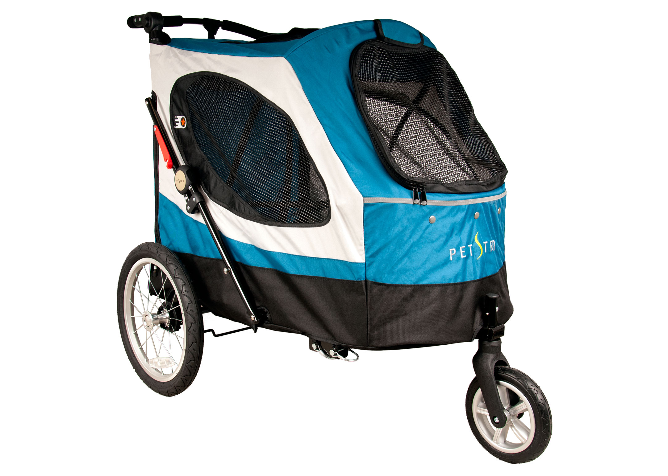 Petstro Large 3-wheel Buggy, Turquoise/Grey