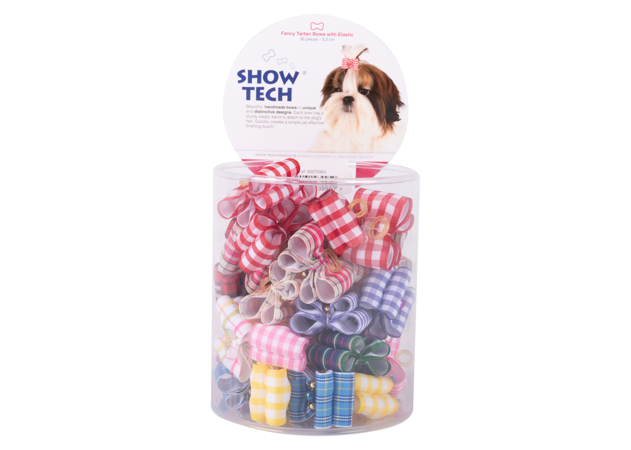 Show Tech Fancy Tartan Bows with Elastic 36 pcs Bows