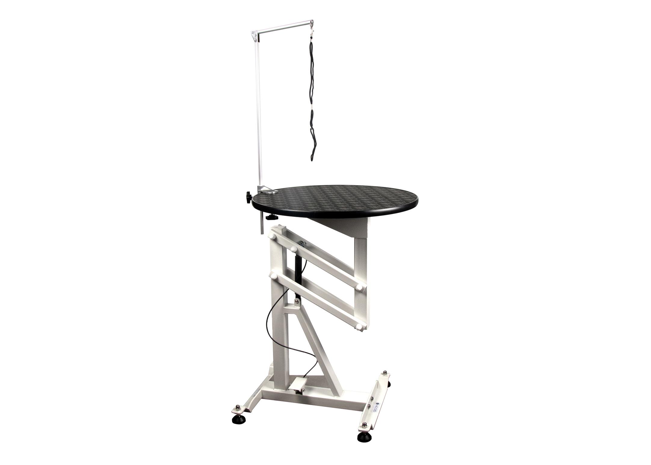 Groom-X Compact Air Lift Table de Toilettage Ronde Royal Lotus dia.60x80-120cmh avec Potence