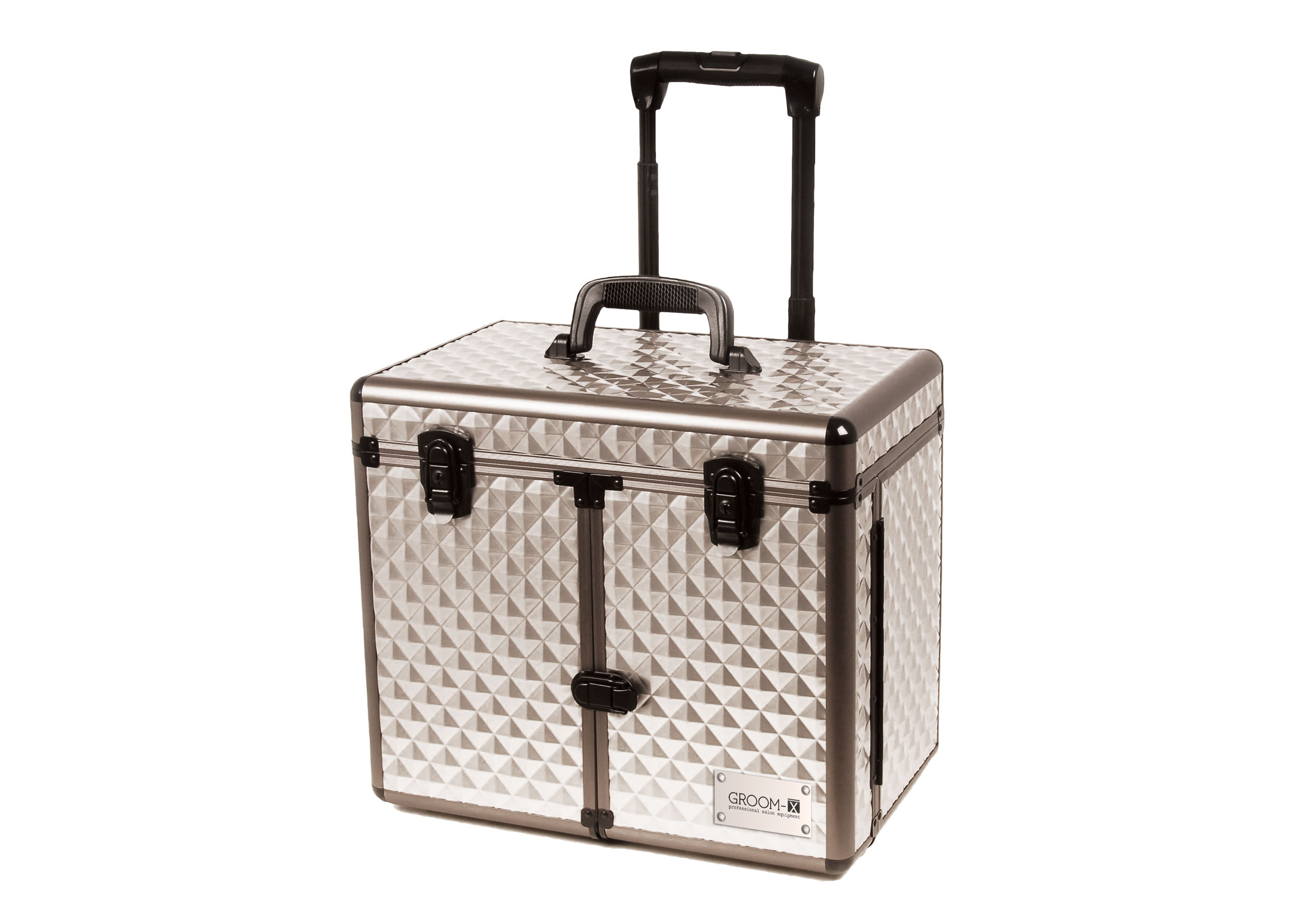 Groom-X Grooming Case with 2 Wheels and Telescopic Handle, Diamond ABS Panel