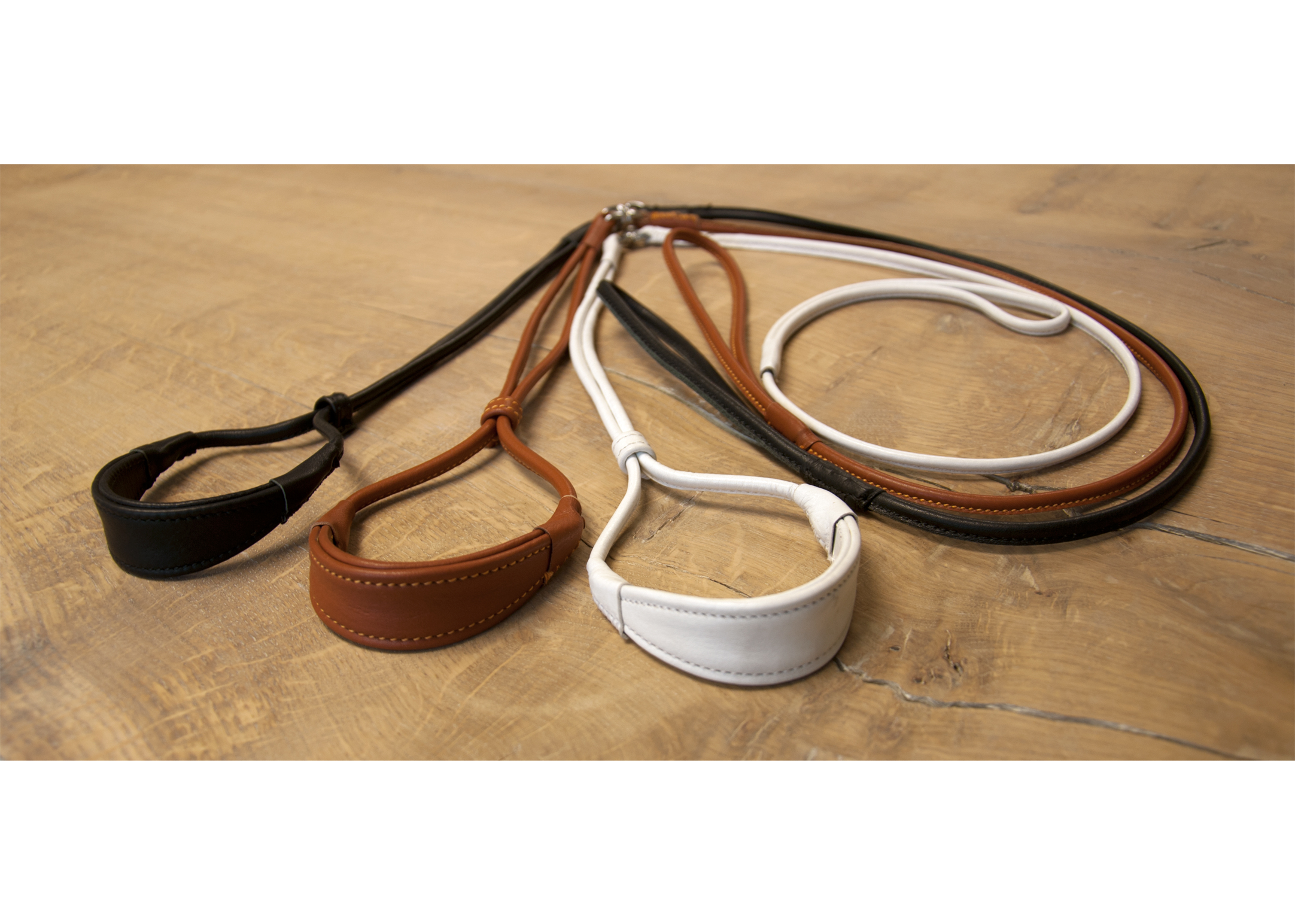 Dapper Dogs Comfort Show Lead Round Cow Leather S 5mm White Leather Comfort Lead