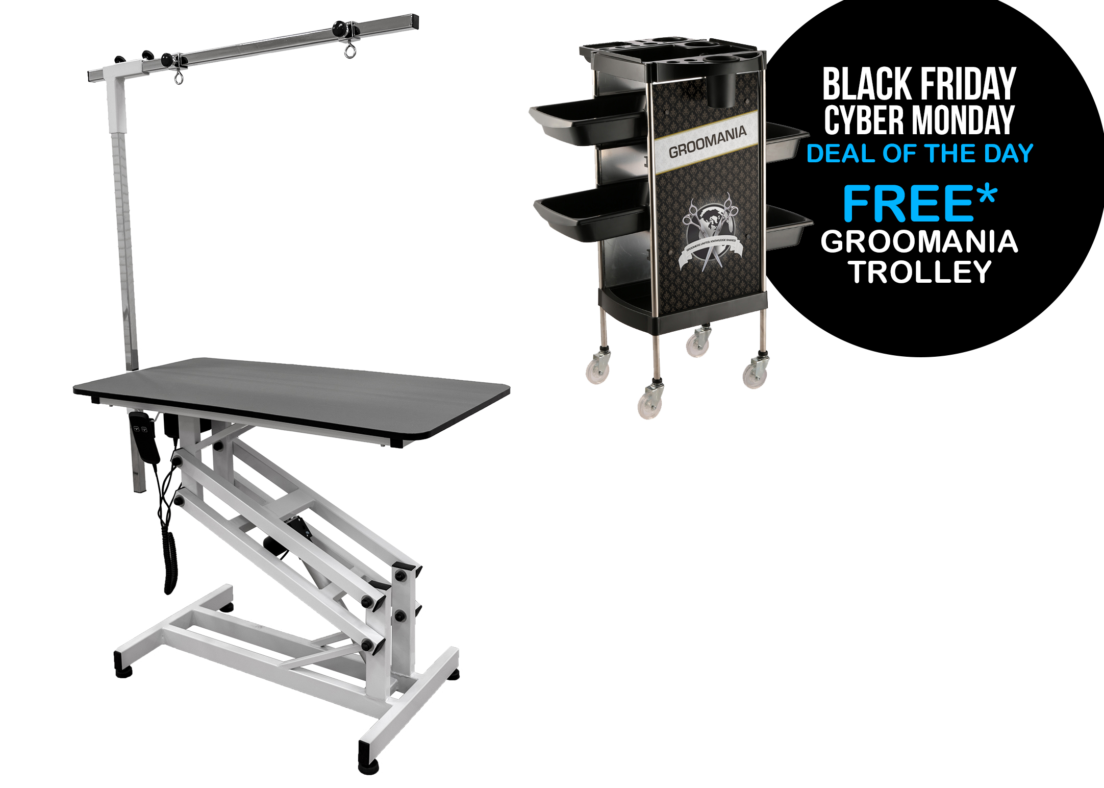 BLACK FRIDAY PROMO - Groom-X START Electric Table + post Grey 110x60x47,5-106cm Professional Grooming Table + FREE DEMO Groom-X Trolley Black Groomania - material cart
