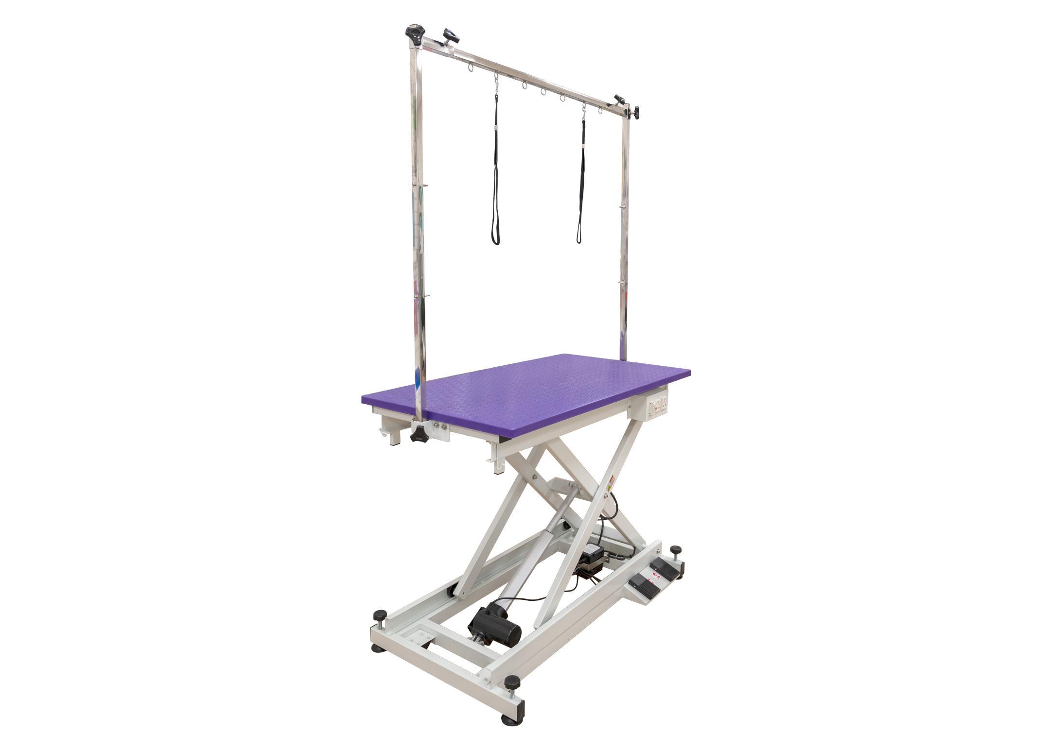 Groom-X LowLine Salon Table Mauve Surface 110x60x32-102cm avec Potence double - Table De Toilettage Professionnel