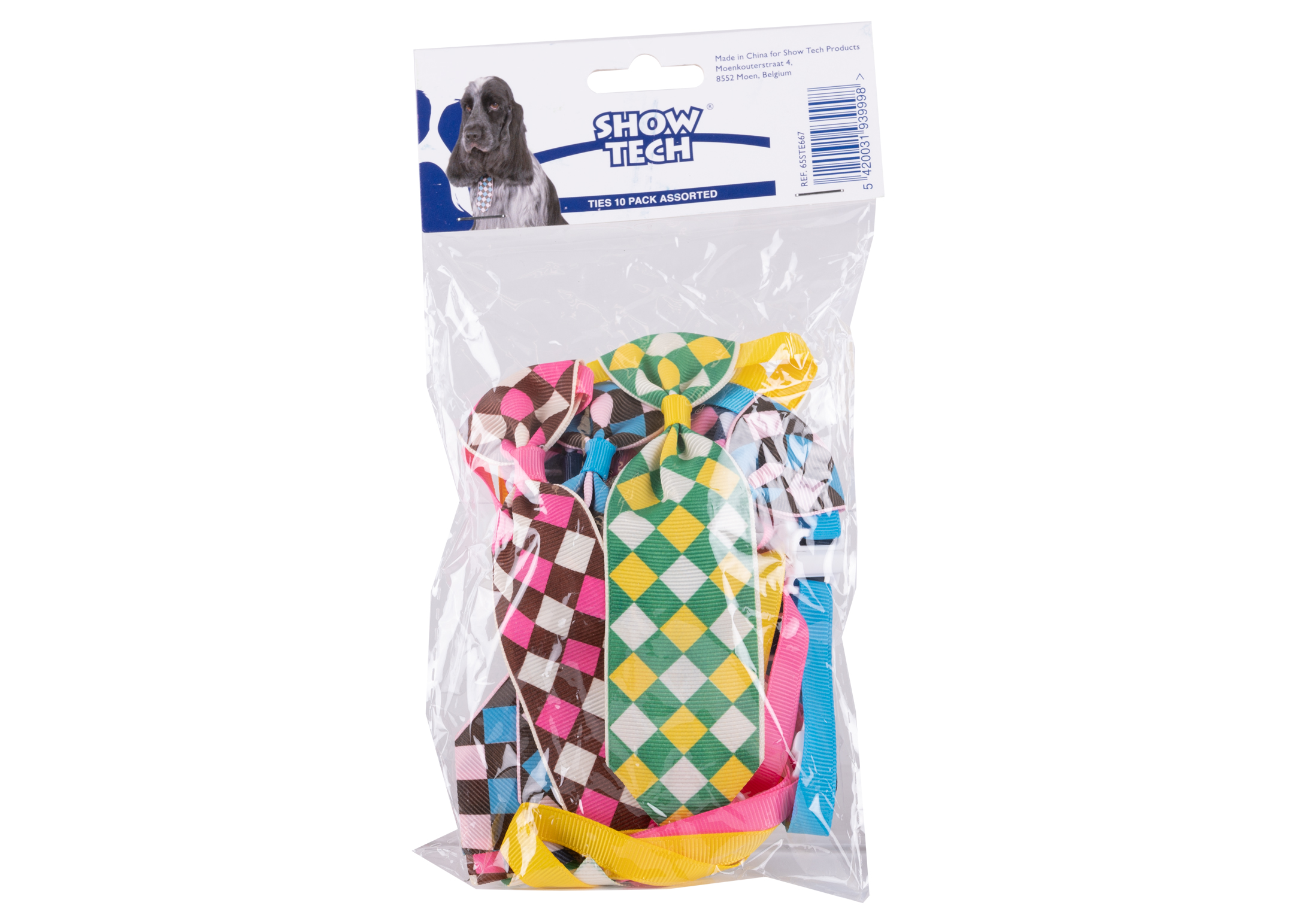 Show Tech Check Tie Canine Costume Ties 10-pack Assorted