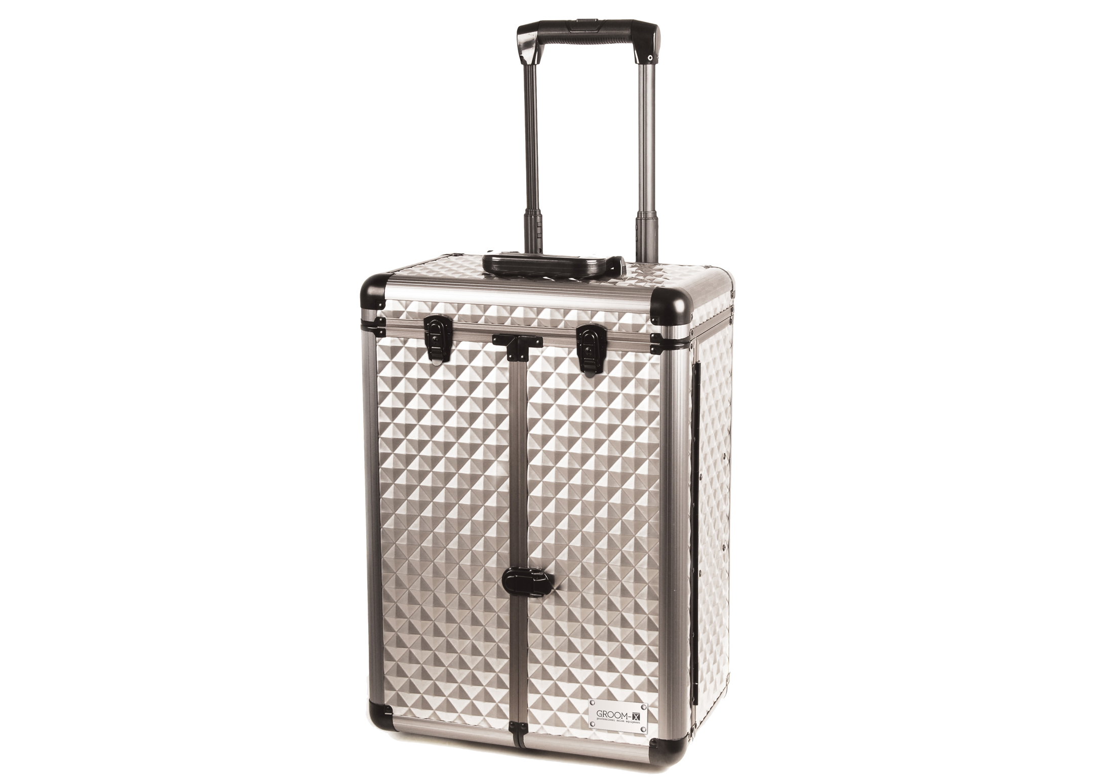 Groom-X Grooming Case Deluxe with 2 Wheels and Telescopic Handle with Diamond ABS Panel