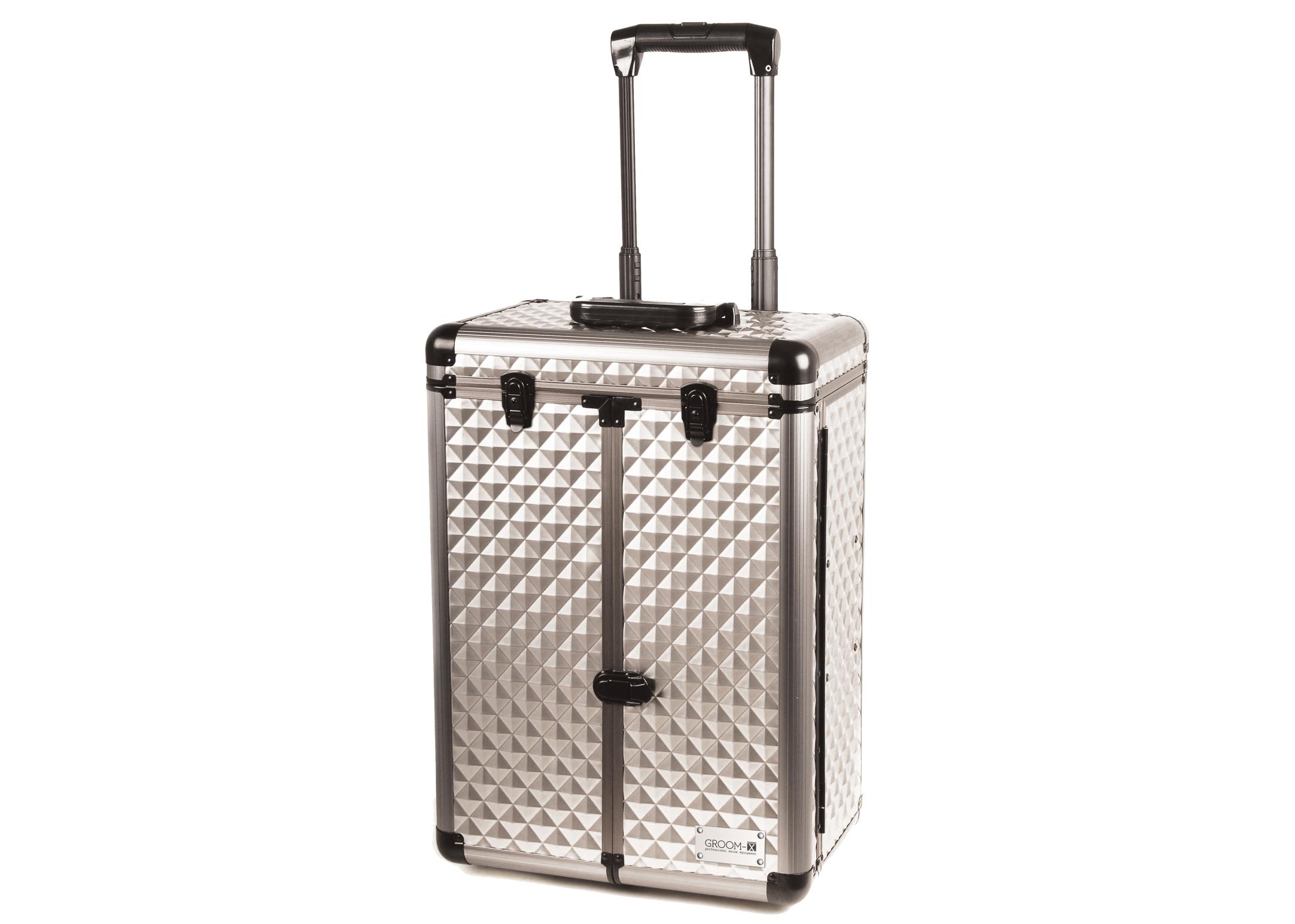 Groom-X Valise de Toilettage Deluxe 2 roues et Manche Téléscopique, Panneau Diamant