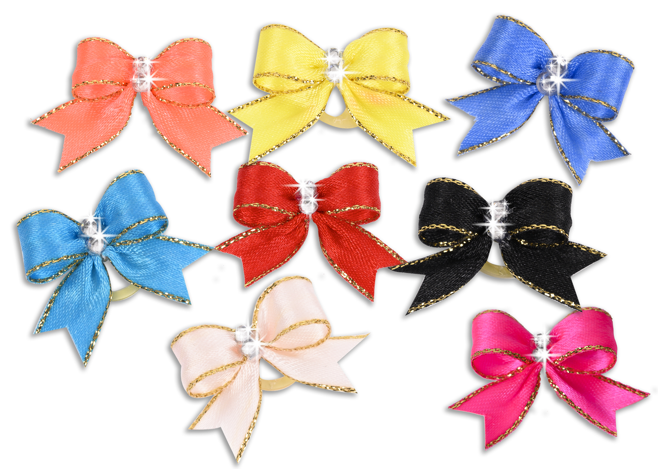 Show Tech Cutie Sparkle Bow with Elastic 8 pcs Bows with Rhinestone 3cm