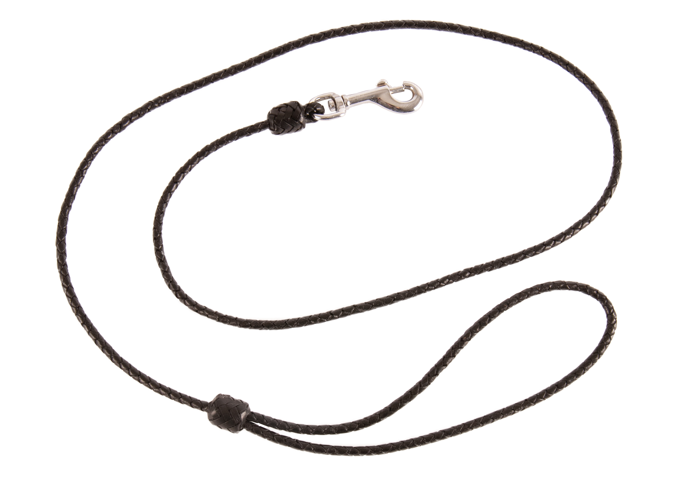 Dapper Dogs Leather Buffalo Lead Round Plaited Black 4mmx100cm