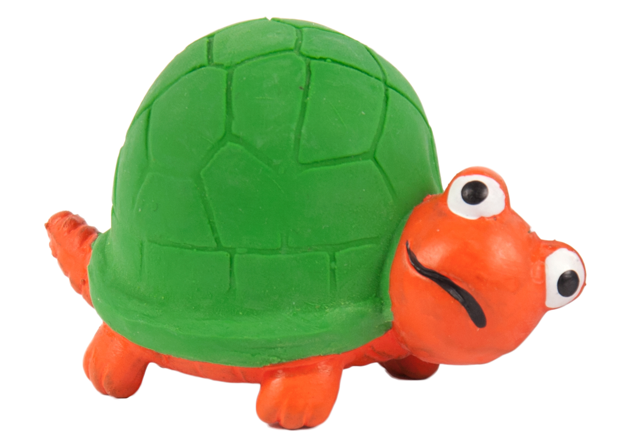 Chuckle City Squeaky Latex Turtle 7cm Orange/Green Toys