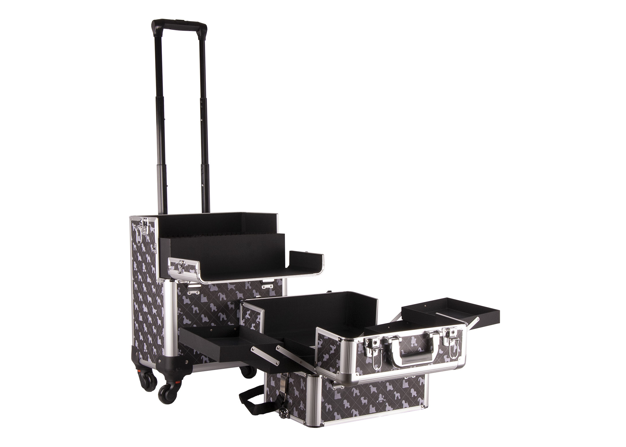 Groom-X Grooming Case XL 2 in one with 4 Wheels and Telescopic Handle with K-Design
