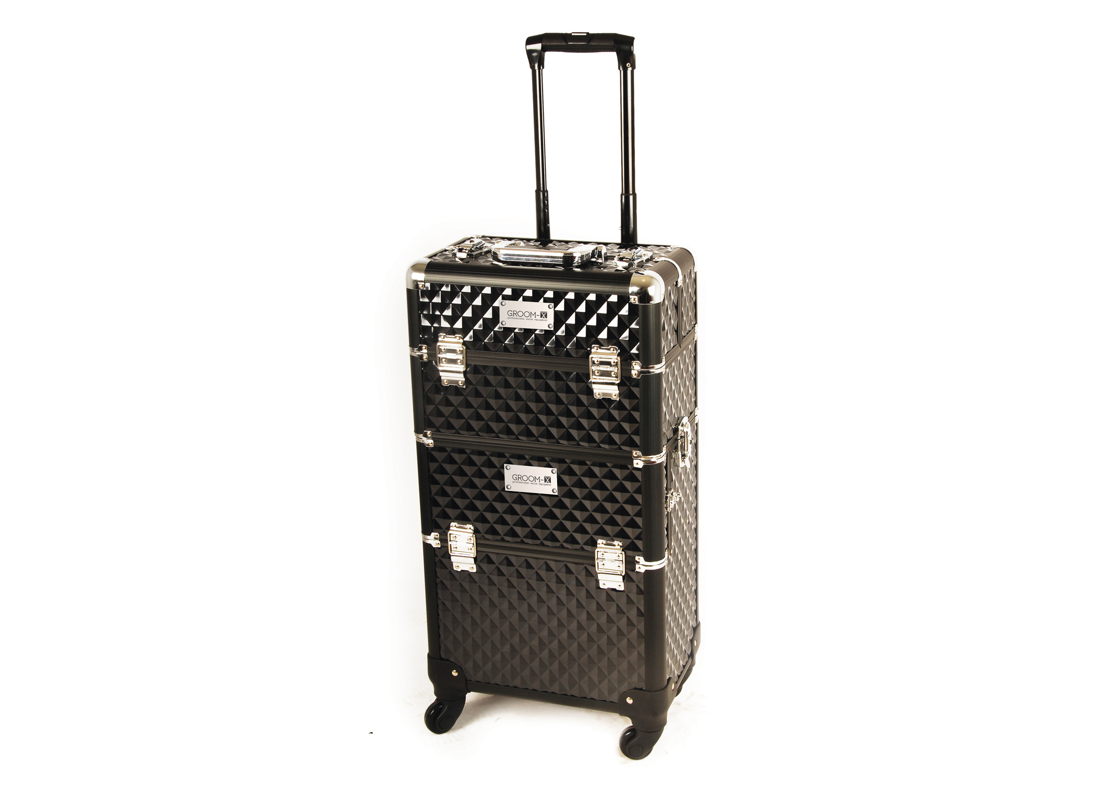 Groom-X Grooming Case XL 2 in one with 4 Wheels and Telescopic Handle with ABS Panel Black