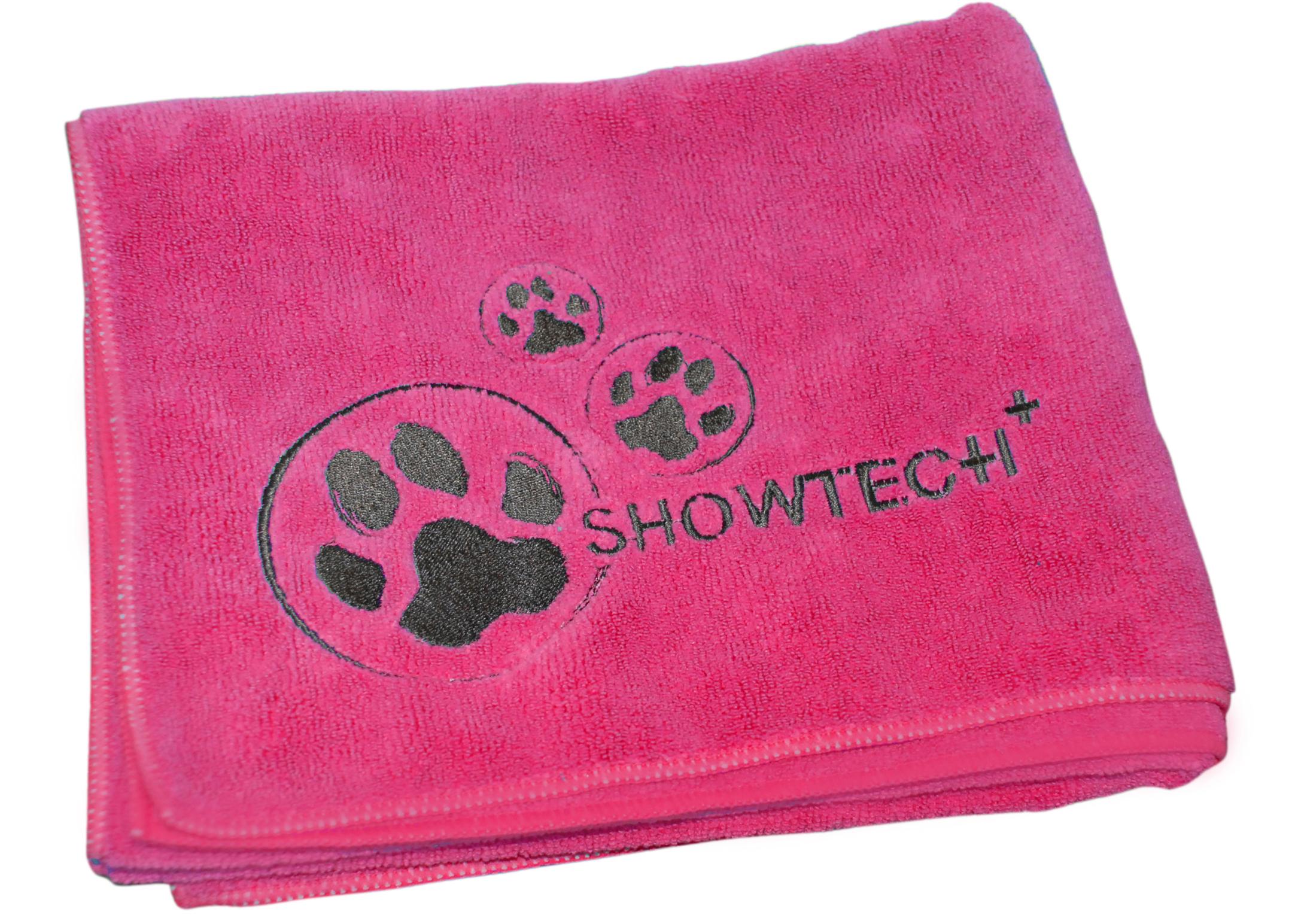 Show Tech+ Microfibre Handdoek met Broderie 56x90cm Hot Pink Handdoek
