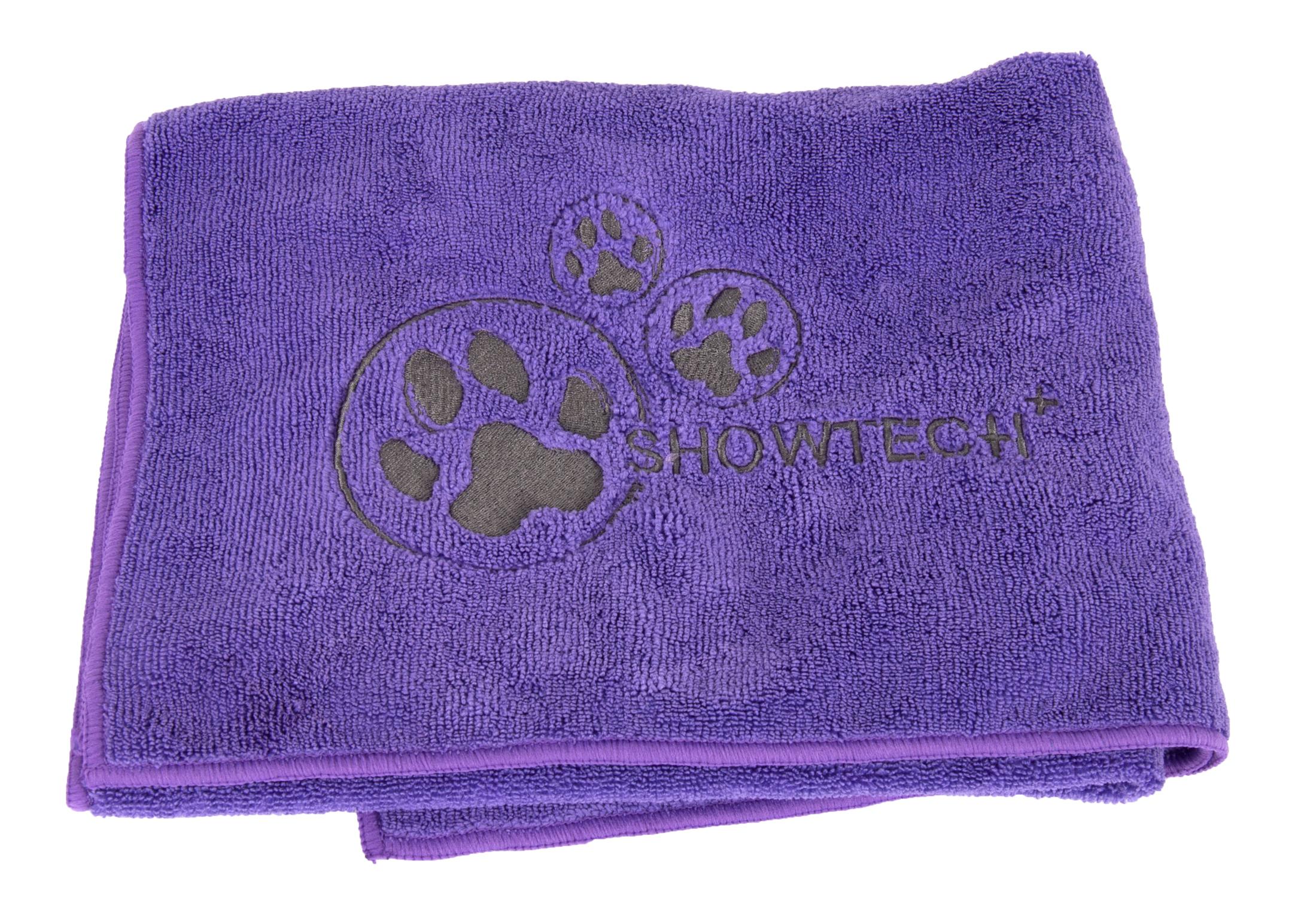Show Tech+ Microfibre Handdoek met Broderie 56x90cm Paars Handdoek