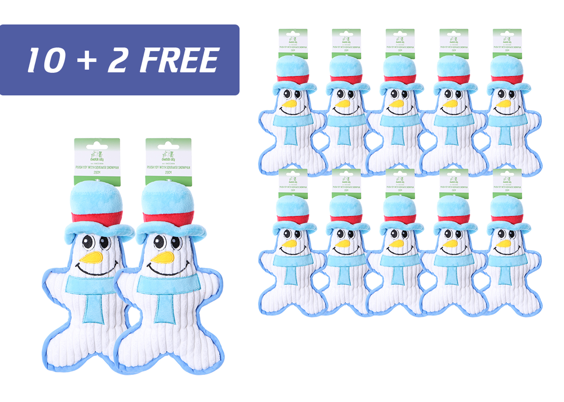 Chuckle City promo 10+2 free Plush Toy with Squeaker Snowman 28 cm
