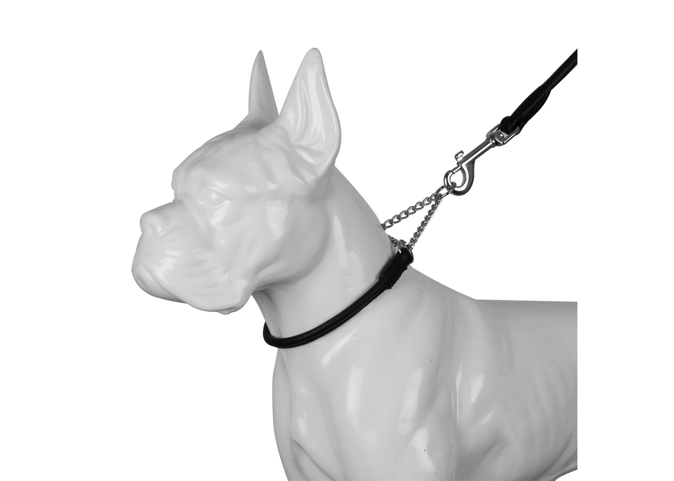Dapper Dogs Leather Half Check Black Leather Collar