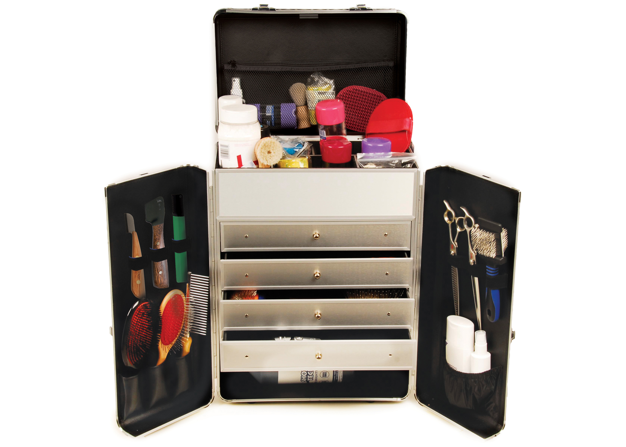Groom-X Grooming Case Deluxe with 2 Wheels and Telescopic Handle with Diamond ABS Panel Black