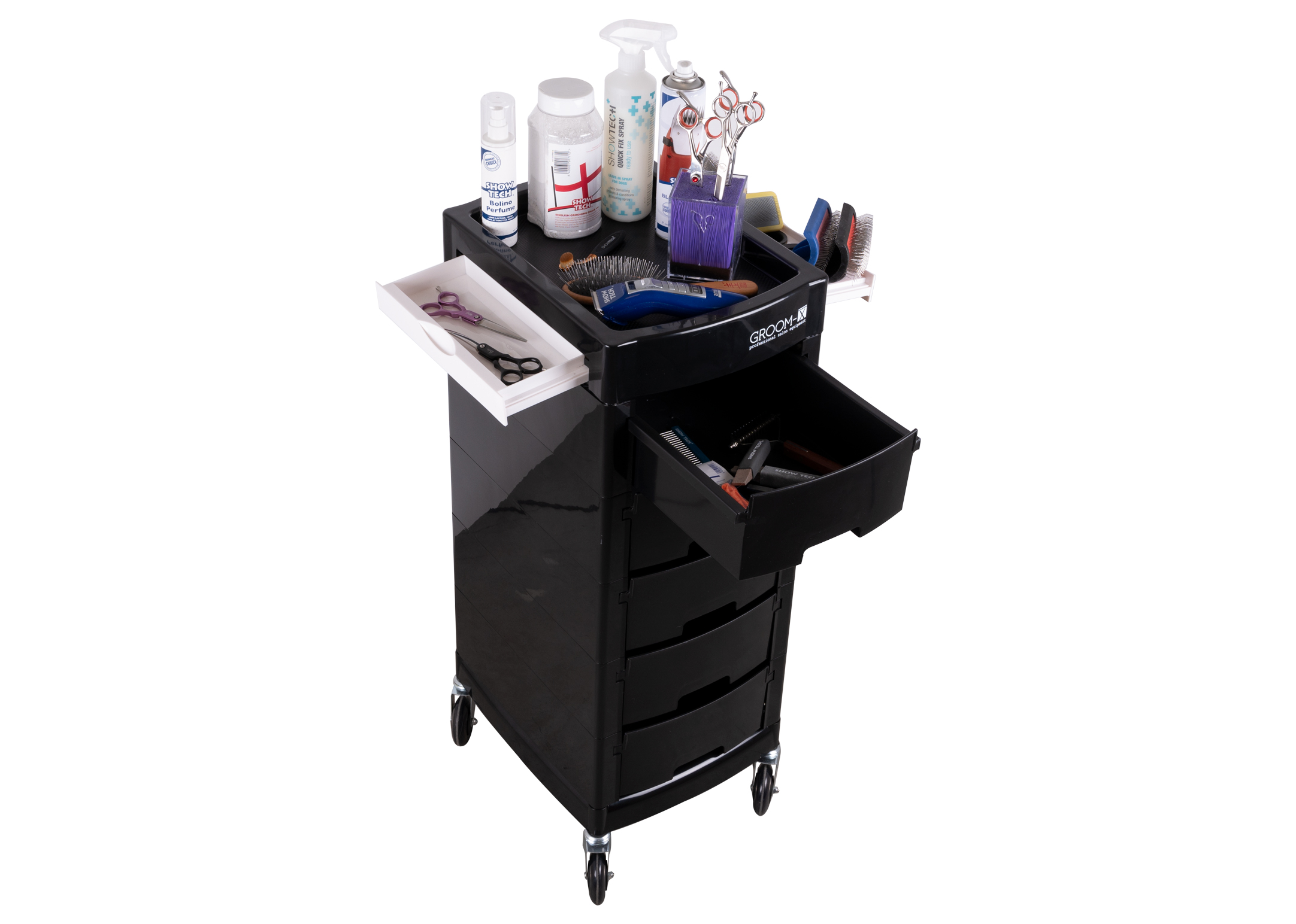 Groom-X Trolley Black Deluxe - closed material cart