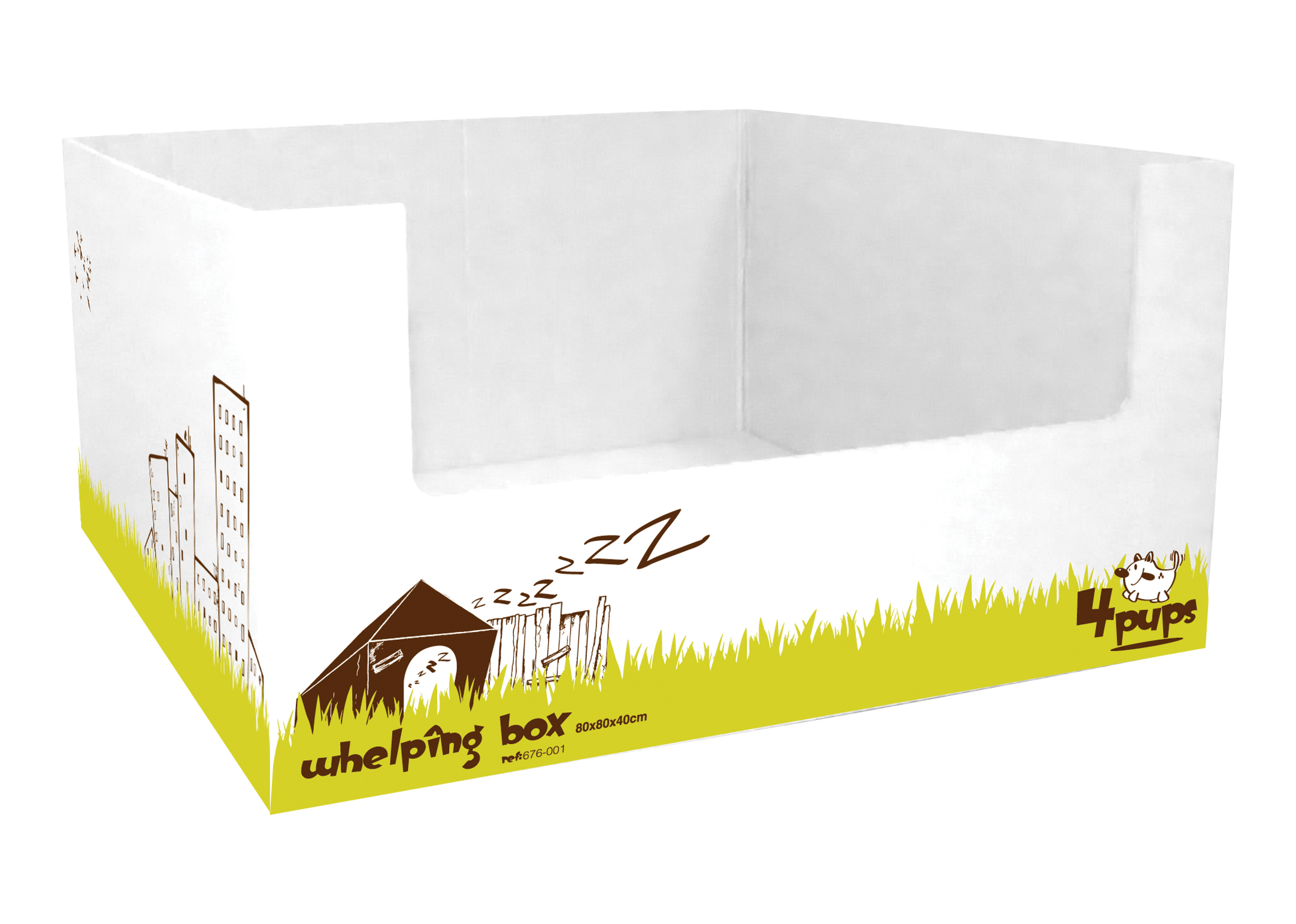 4Pups Whelping Box 80x80x40cm