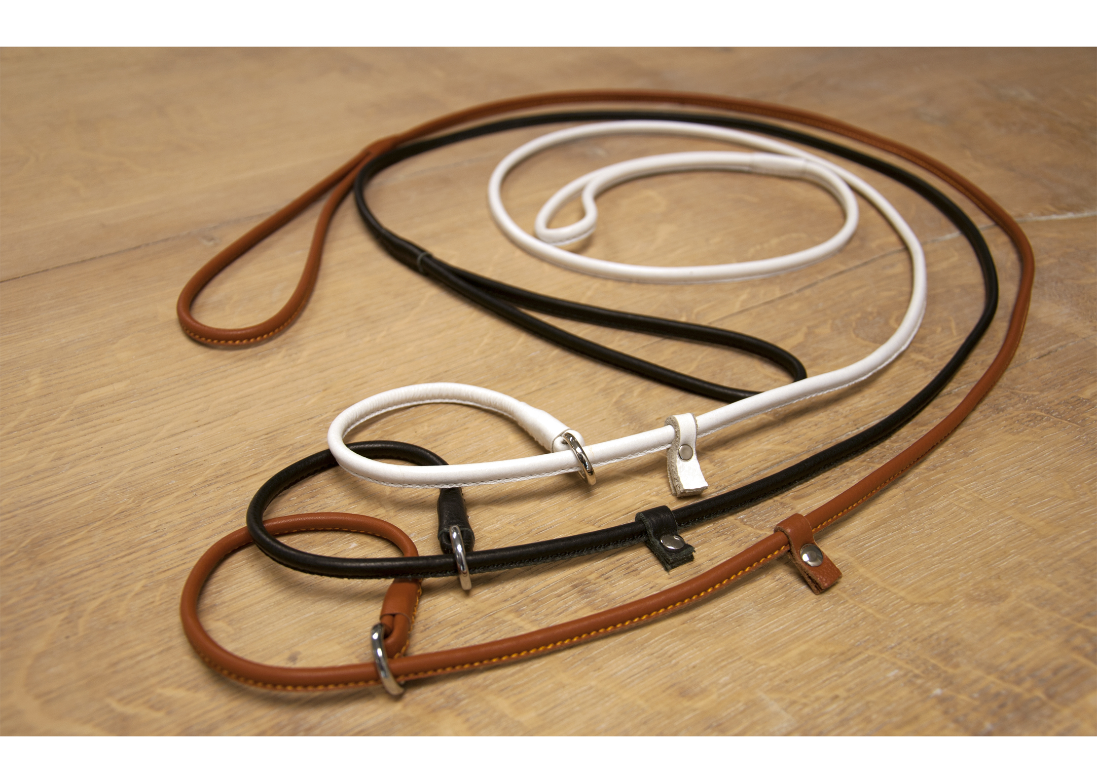 Dapper Dogs Slip Lead Round Cow Leather S 5mm Black Leather Slip Lead