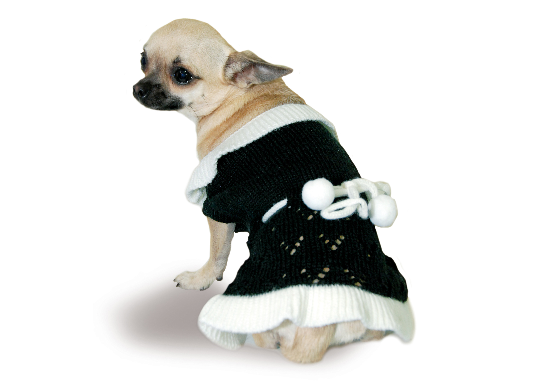 Max+Co Dress Pom-Pom Black-White Attire For Dogs