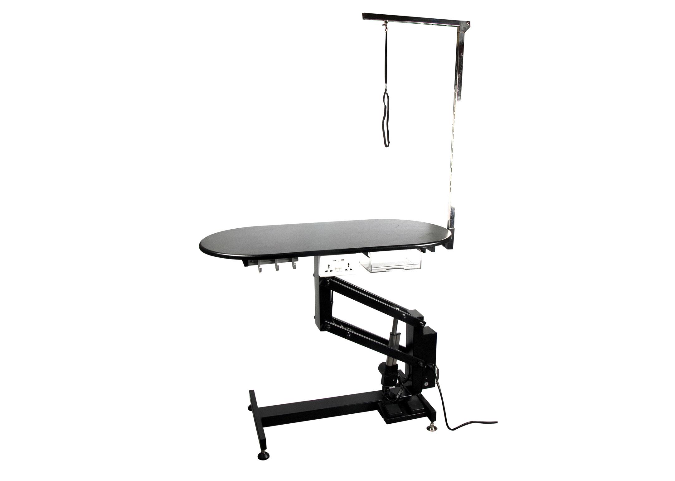 Groom-X Pro Special Table de Salon Ovale Electrique 110x55x53-109cmh avec Potence