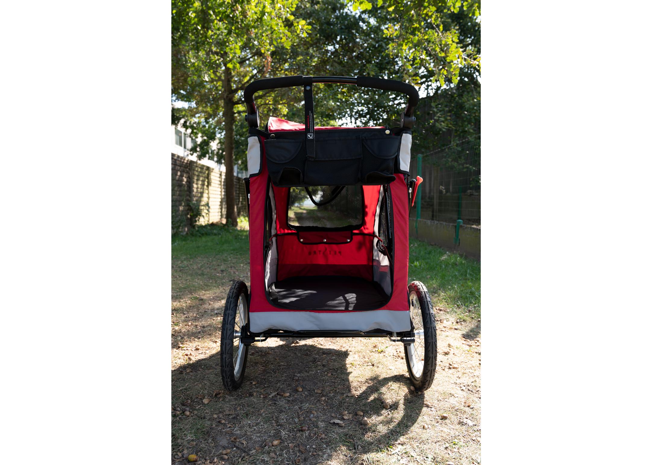 Petstro  Large 3-Wheel Buggy, Red/Grey