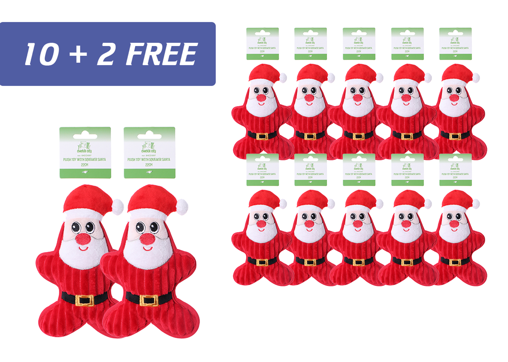 Chuckle City promo 10+2 free Plush Toy with Squeaker Santa 22 cm