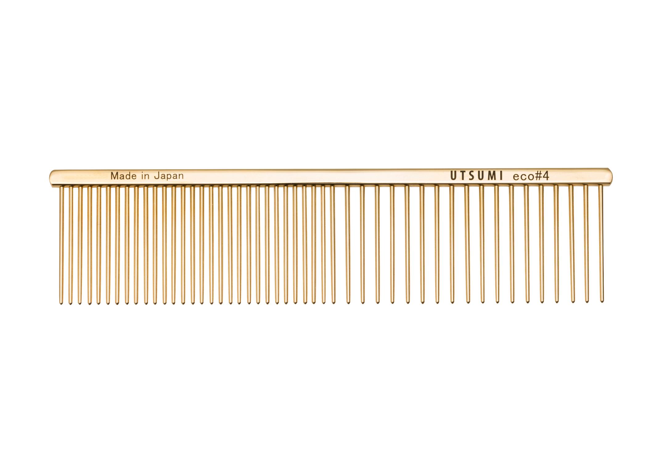 Utsumi Eco#4 Kam Goud 19cm, 4cm lange Tanden Kam