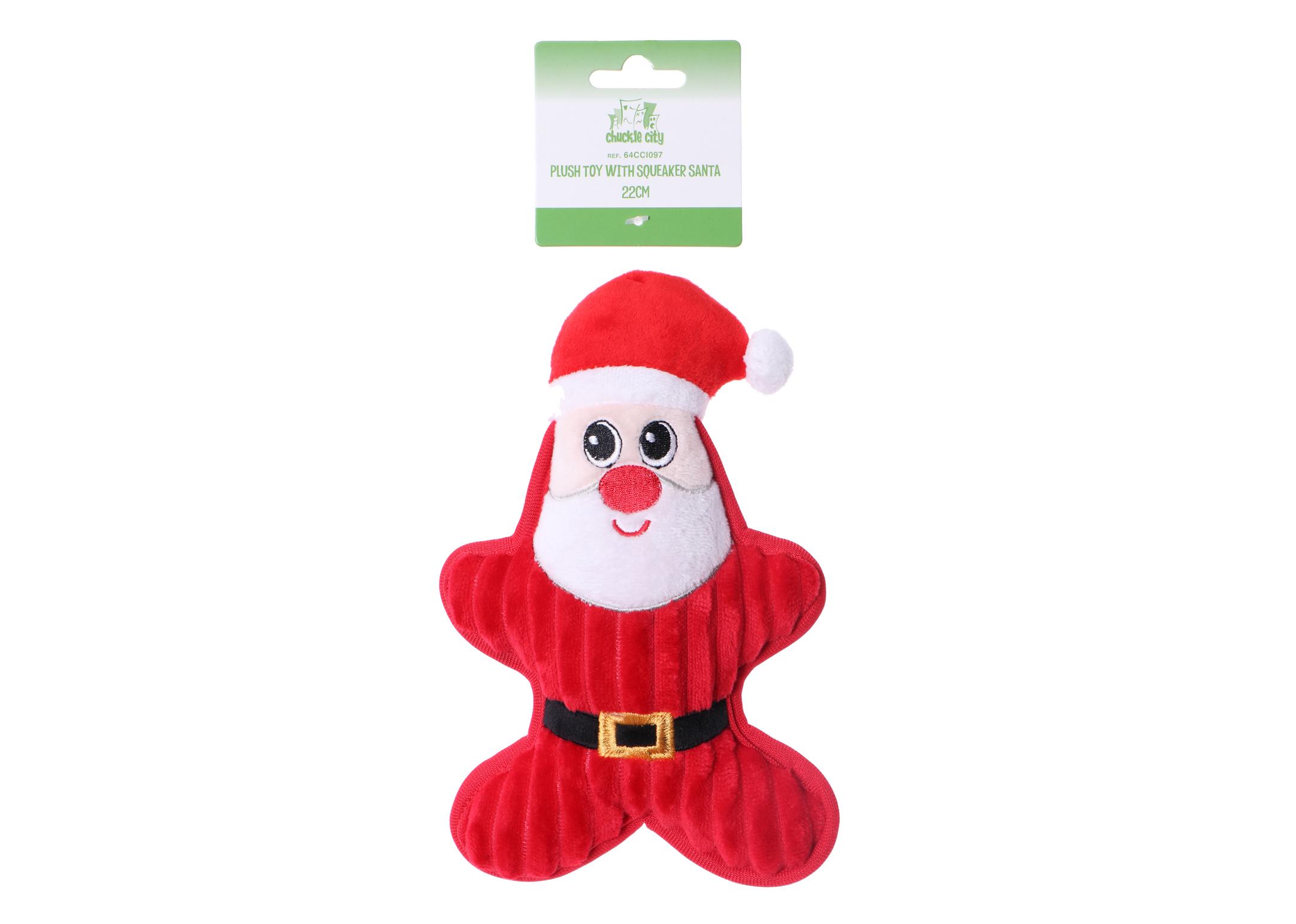 Chuckle City Pluche Speelgoed met Pieper Kerstman 22 cm