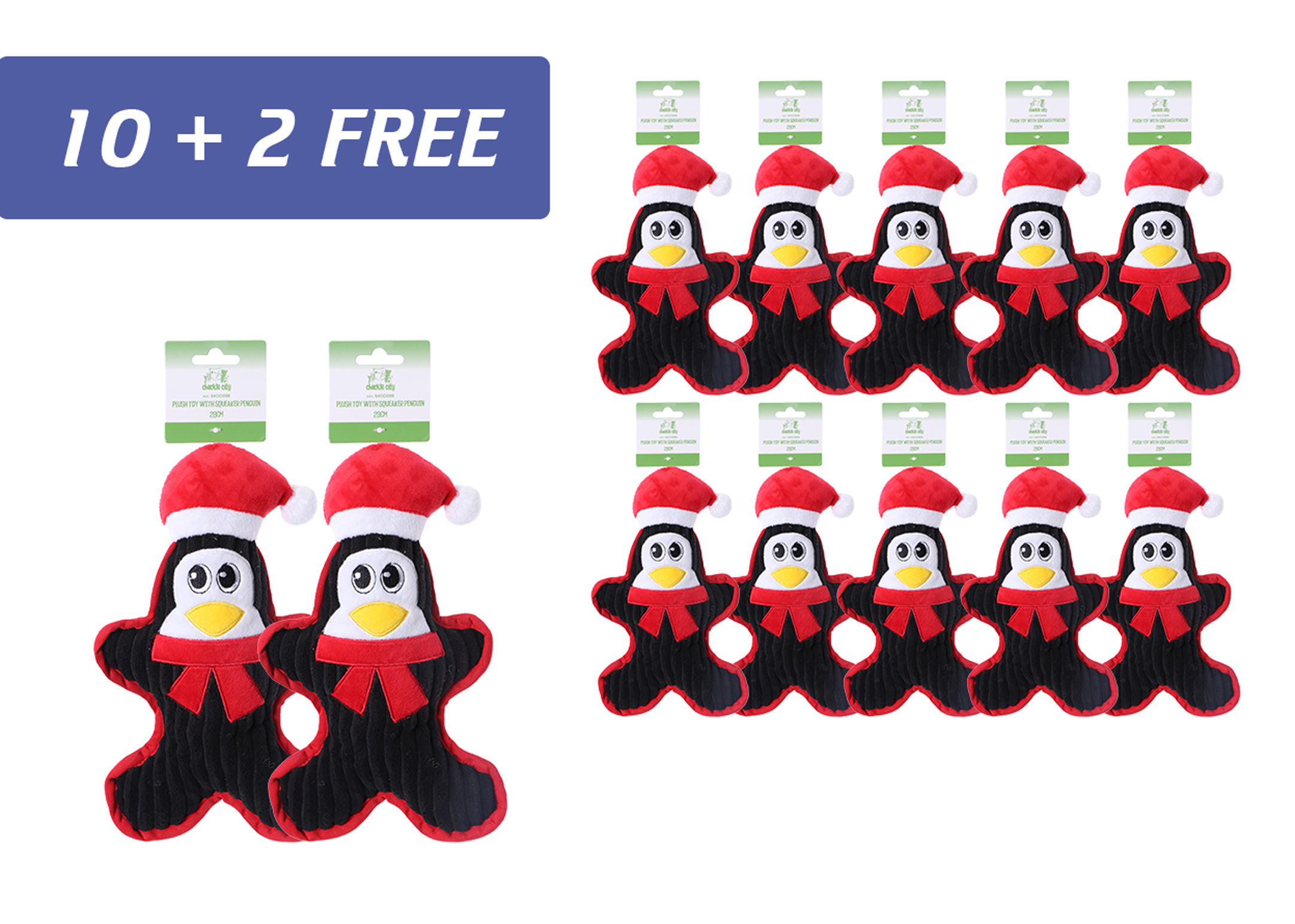 Chuckle City promo 10+2 free Plush Toy with Squeaker Penguin 28 cm