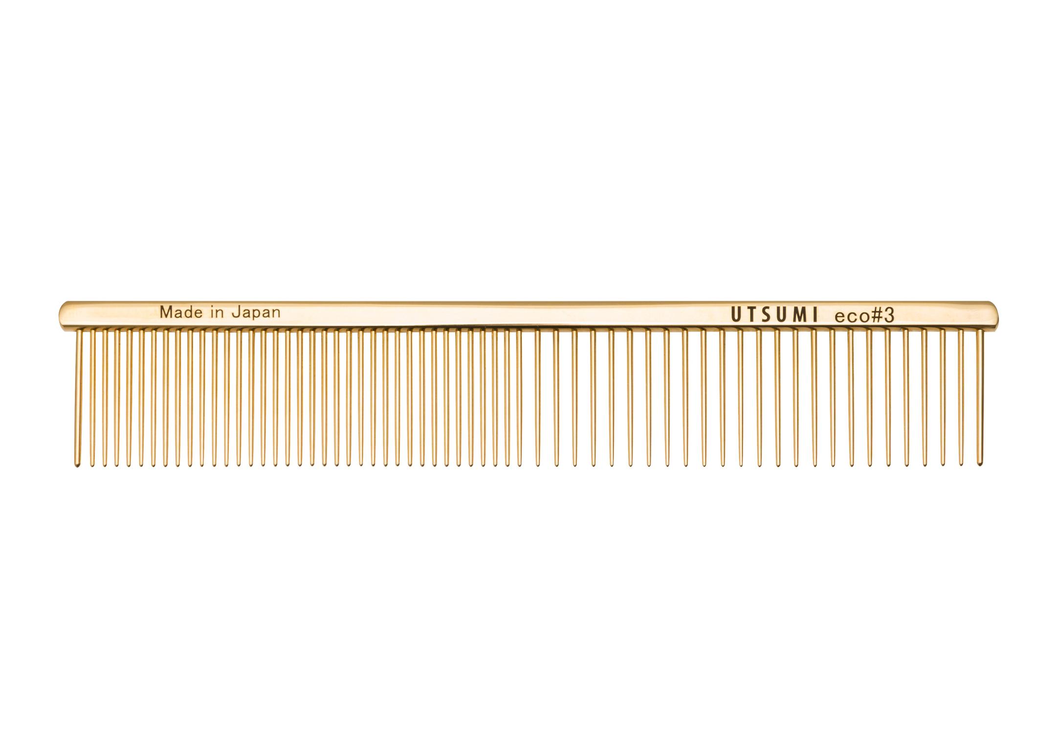 Utsumi Eco#3 Kam Goud 19cm, 3cm lange Tanden Kam