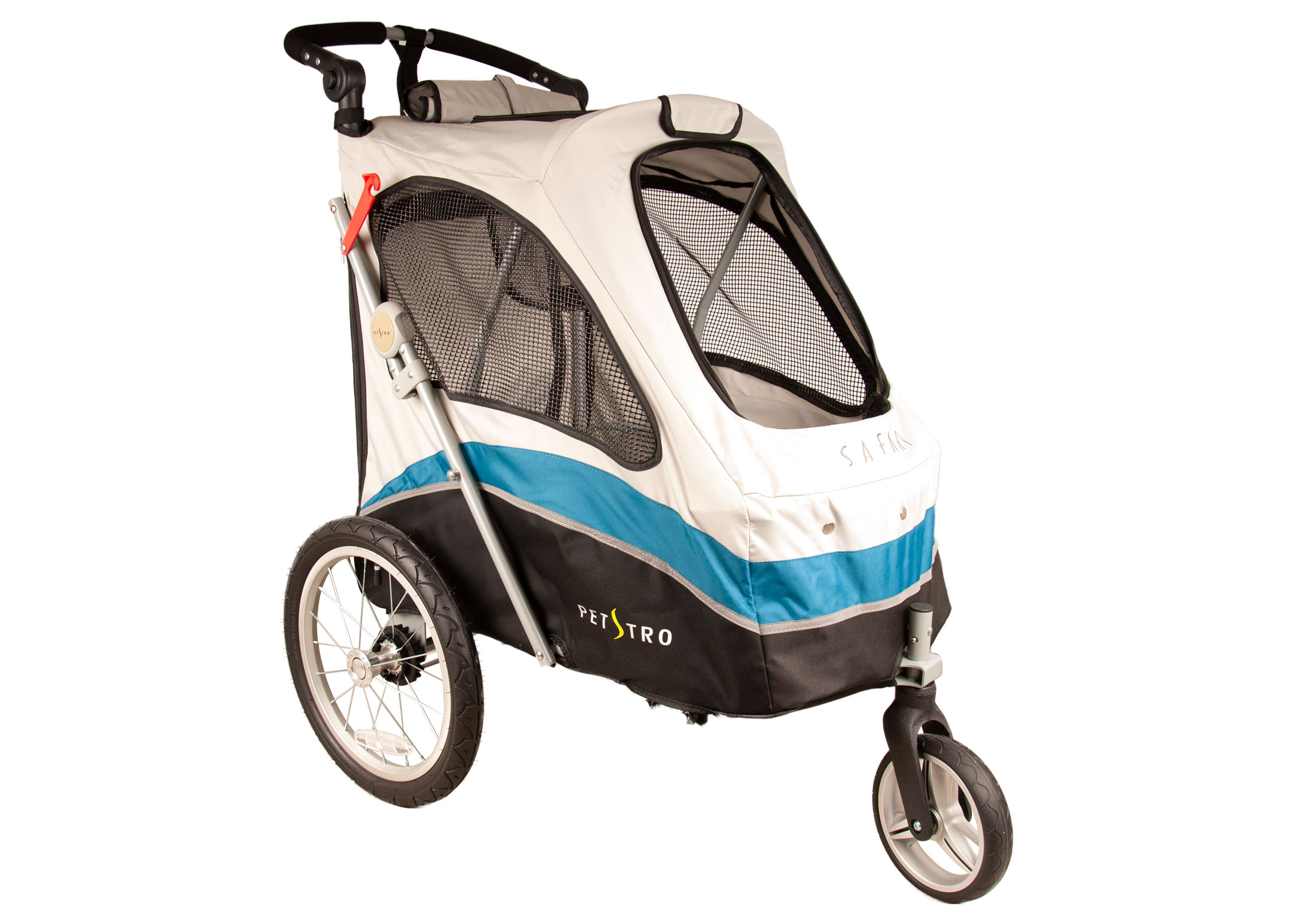 Petstro Medium 3-Wheel Buggy, Turquoise/Grey