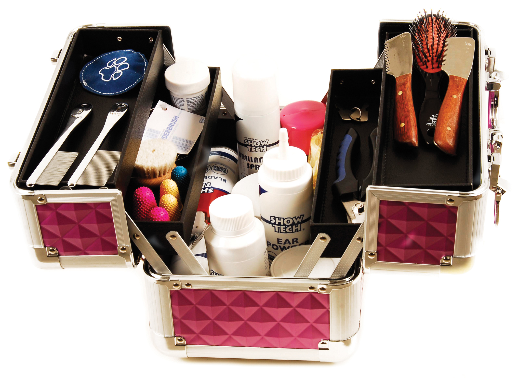 Groom-X Grooming Case Mini Portable with Diamond ABS Panel Pink