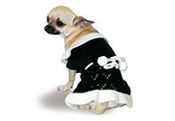 Max+Co Dress Pom-Pom Black-White Attire For Dogs