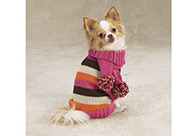 Zack & Zoe Multi-Stripe Sweater with Hat & Scarf Attire For Dogs