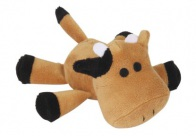 Chuckle City Plush Toy with Squeaker Cow Brown Mixed Colours 15 cm