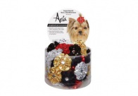 Aria Xmas Sequin Rosette Bows w/Rhinestone 48 pcs Bows For Dogs