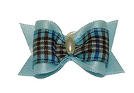 Show Tech Bows Handmade with Pearl Large Baby Blue - Plaid Bows