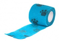 Show Tech Self-Cling Bandage Blue with Paws 7,5cmx4,5M Bandage For Dogs