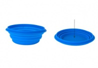 Travel Pop-up Silicone Pet Bowl 1L Blauw Drinkpot Voor Honden
